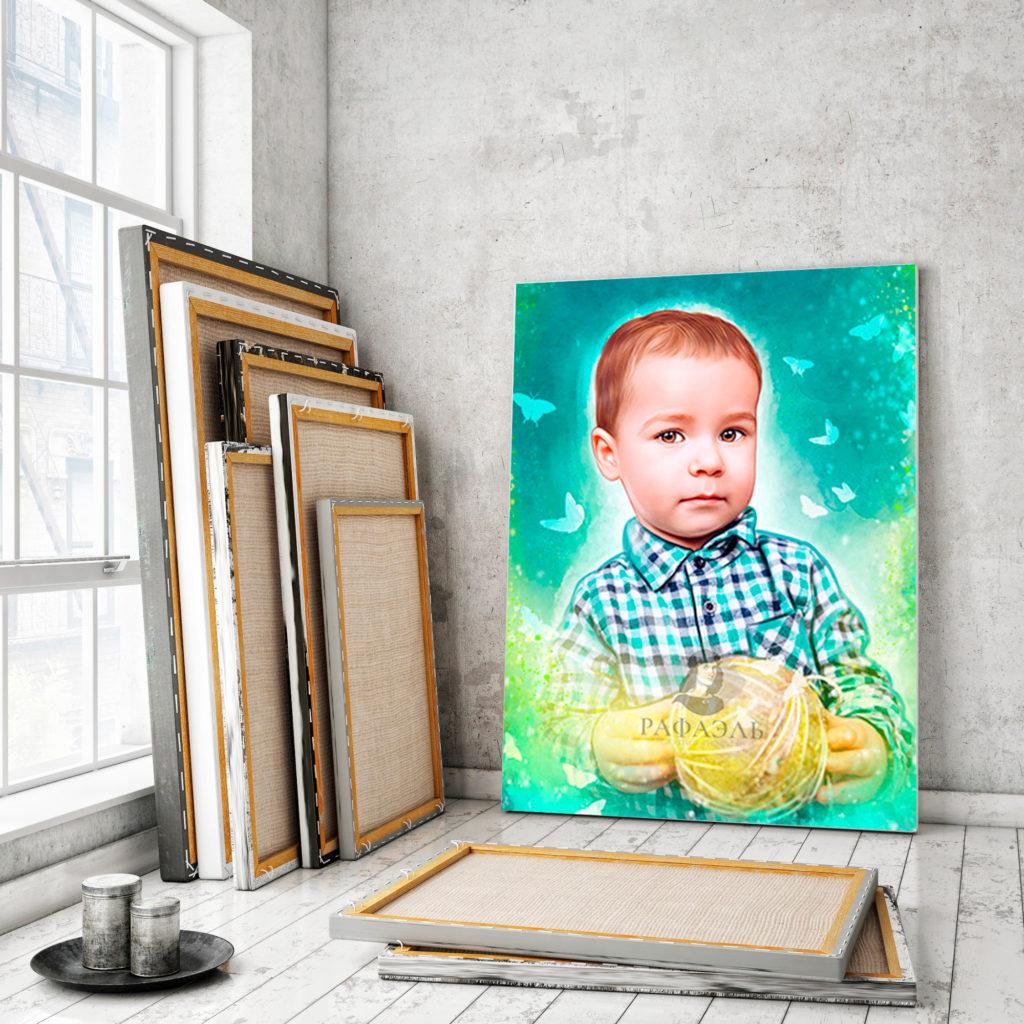 Детский портрет на холсте в стиле Дрим арт