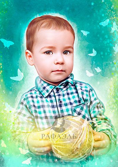 Детский портрет на холсте на заказ Рафаэль студия