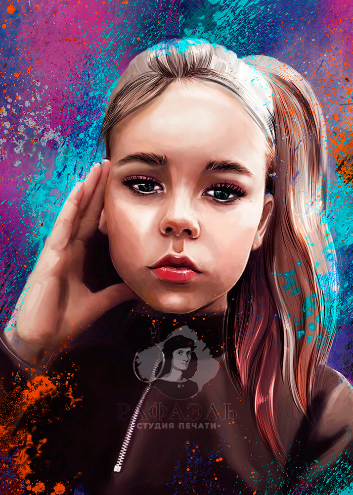 Портрет девочки с хвстиом в стиле Digital art с сине-фиолетовым фоном
