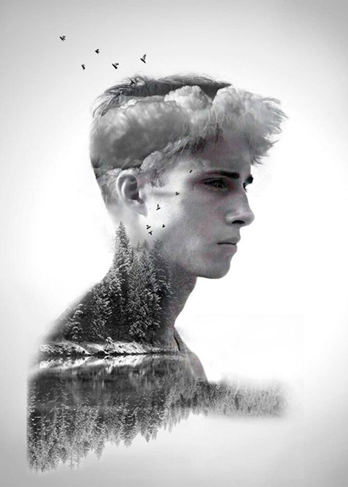 Мужской портрет в двойной экспозиции на холсте