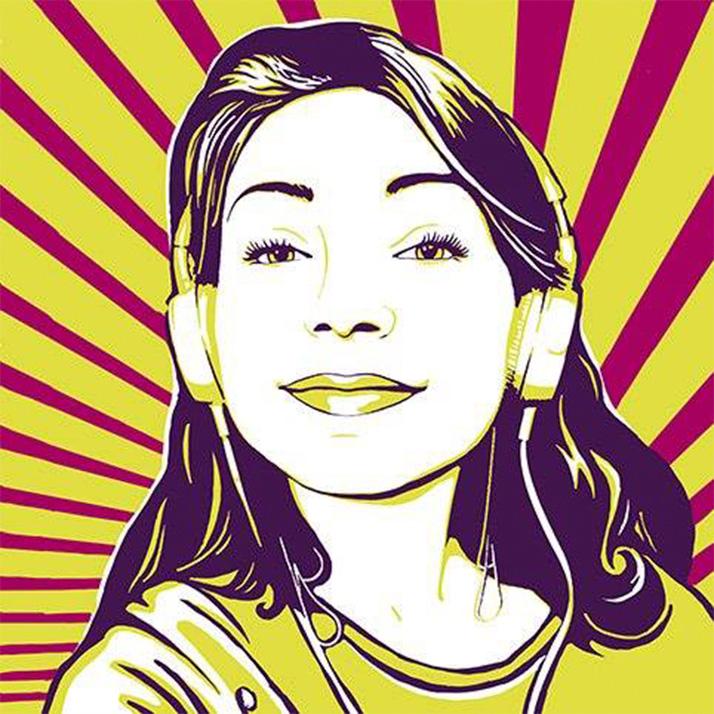 Радужный Pop art портрет на холсте
