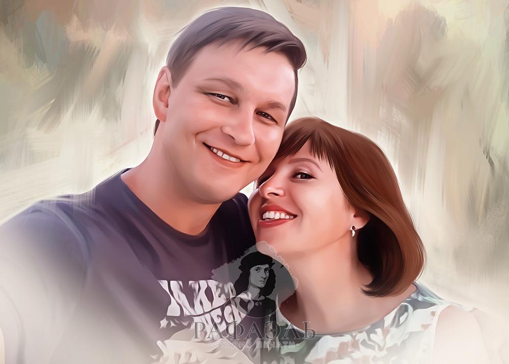 Портрет пары на серо-коричневом фоне на холсте