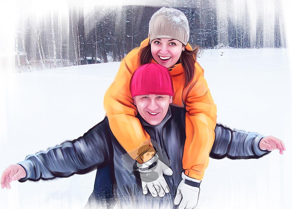 Портрет пары на холсте на фоне зимнего пейзажа