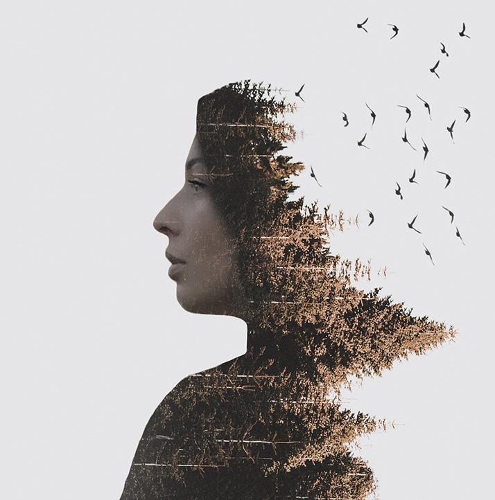 Портрет девушки с переходом на лес с птицами