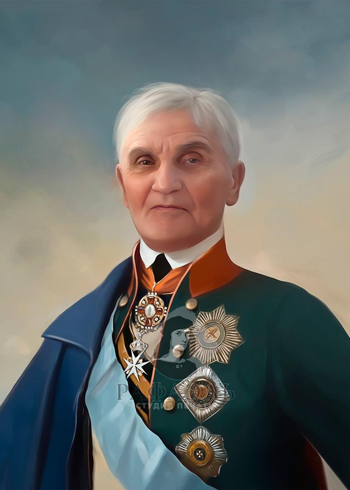 Мужской портрет в образе Александра Суворова на холсте
