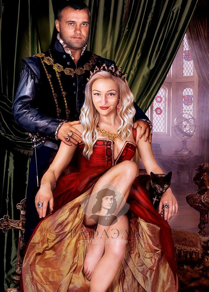 Парный портрет в образе Тюдоры на холсте
