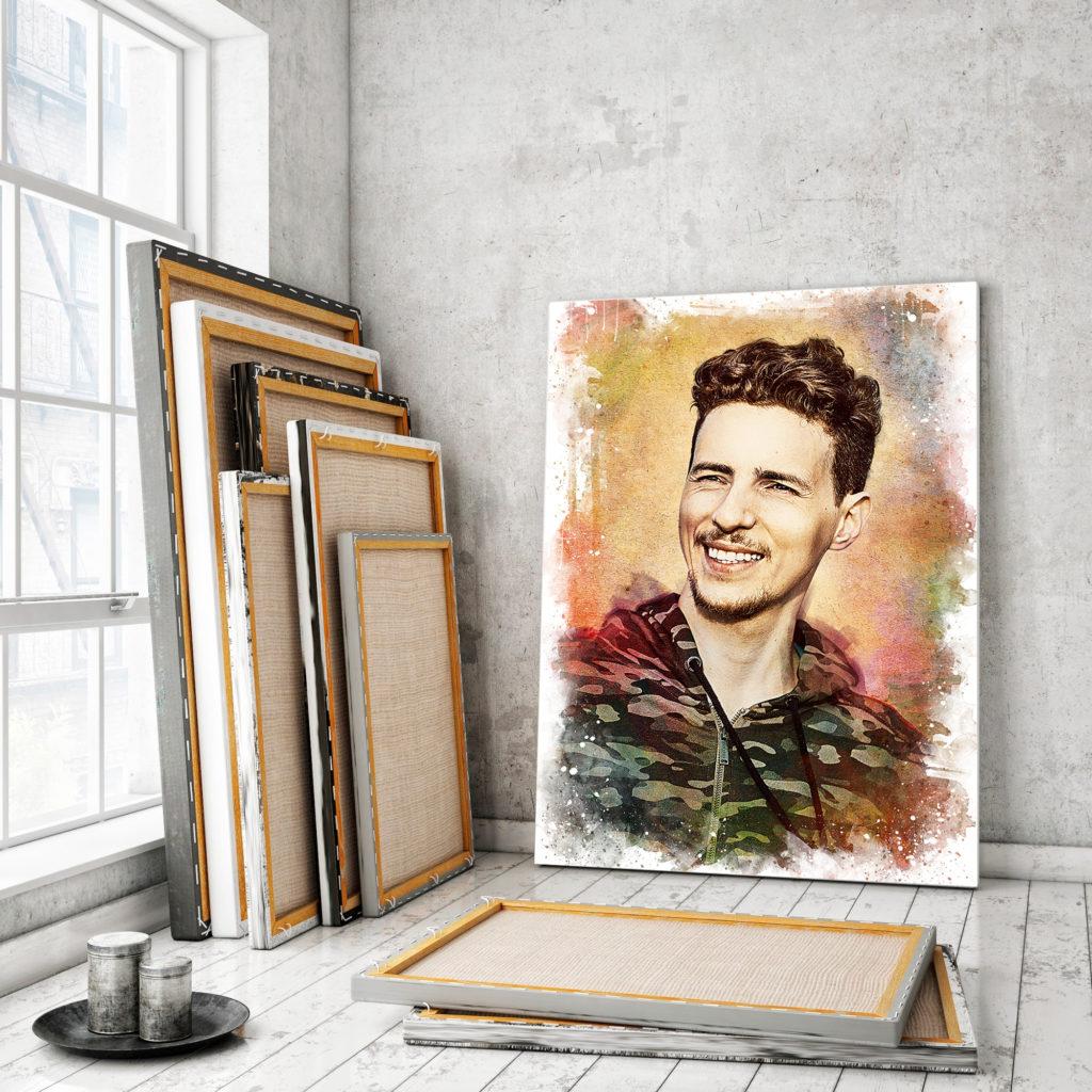 Портрет акварелью на холсте на заказ