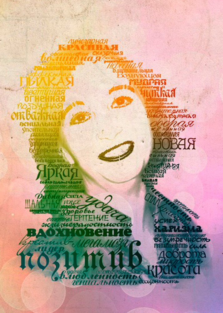 Портрет из слов на холсте заказать в Рафаэль студии