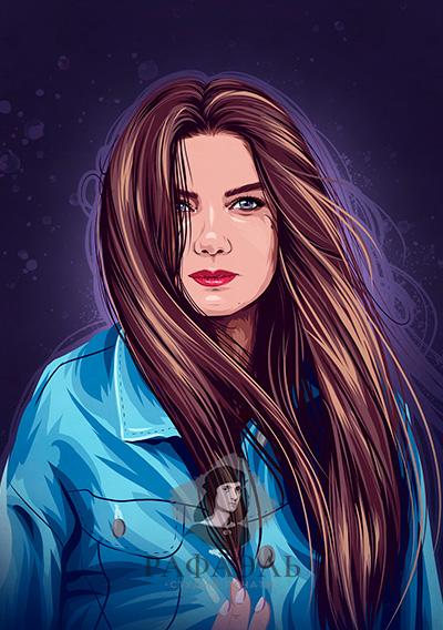 Векторный портрет девушки в синей куртке