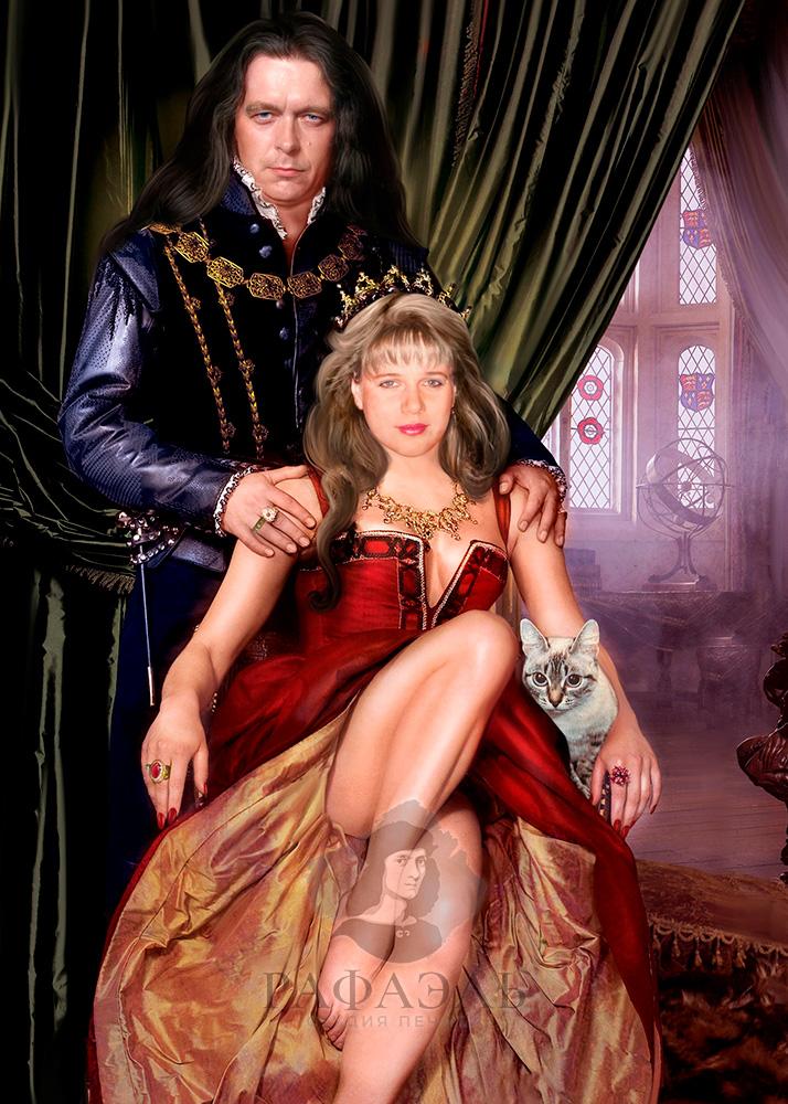 Парный портрет Тюдоры в образе на холсте