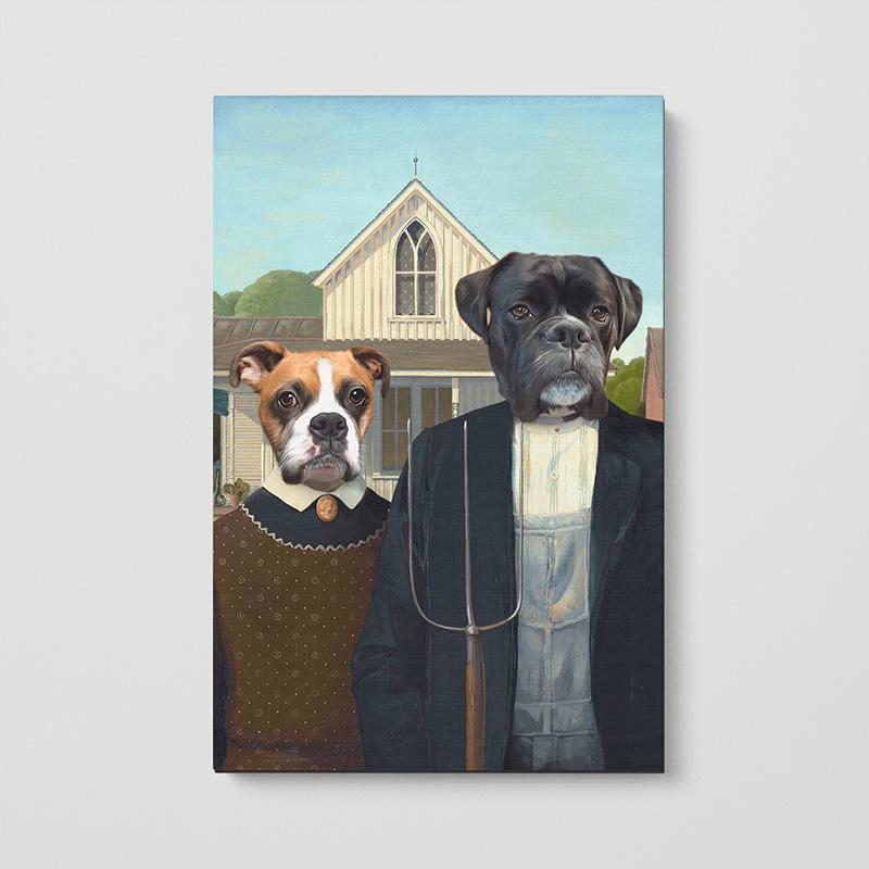 Заказать парный портрет животных на холсте