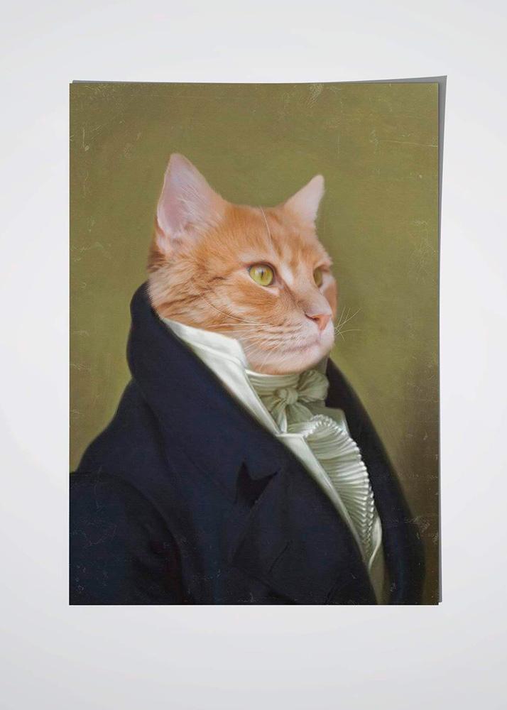 Портрет кота в образе на холсте