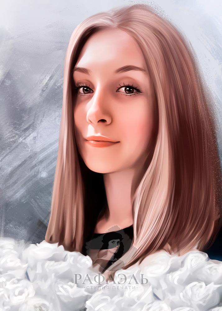 Портрет девушки с букетом белыъ цветов маслом на сером неоднородном фоне