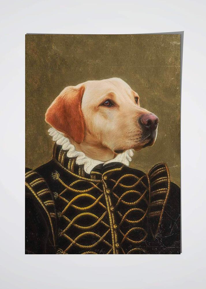 Портрет собаки в образе на холсте