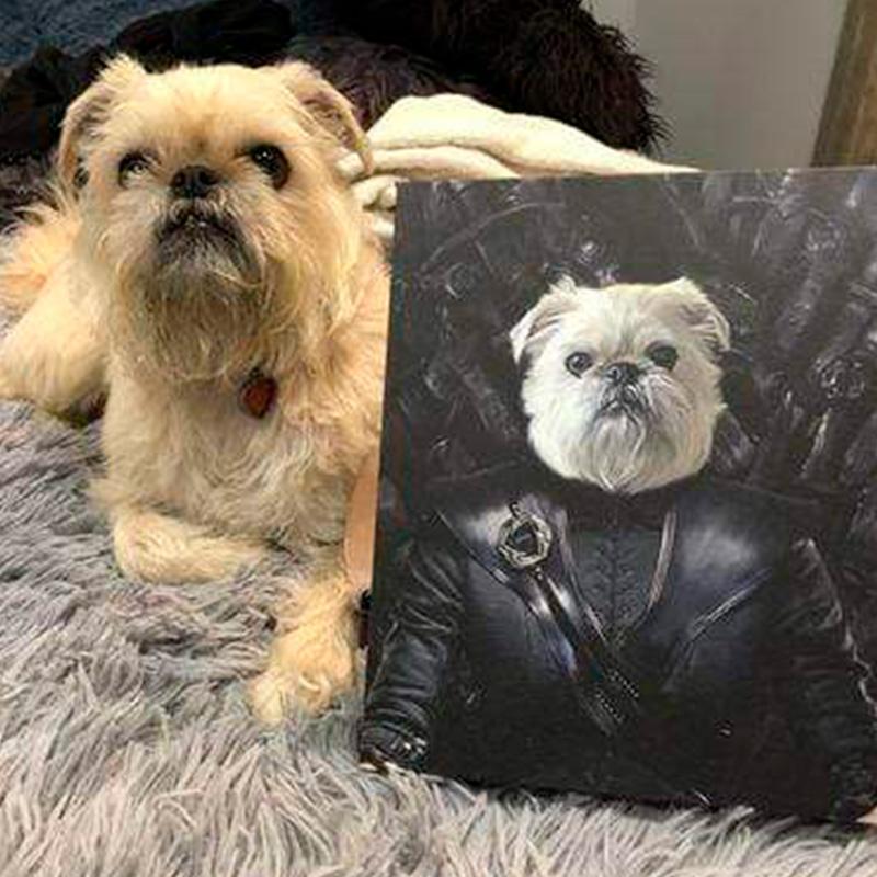 Портрет собаки в кожаной куртке
