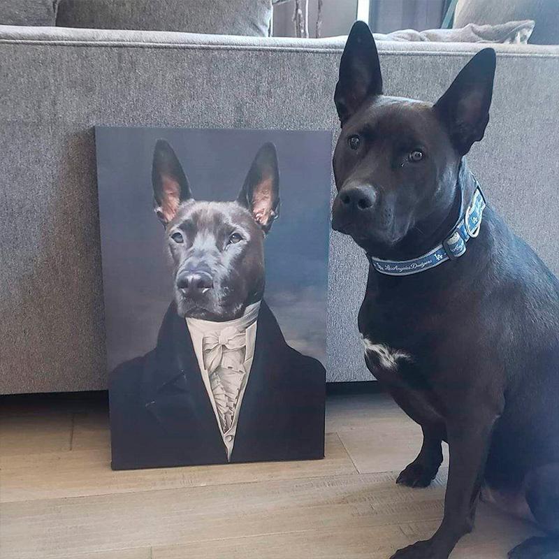 Портрет собаки во фраке и рубашке