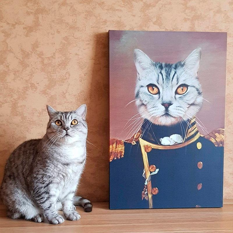 Портрет кота в образе генерала