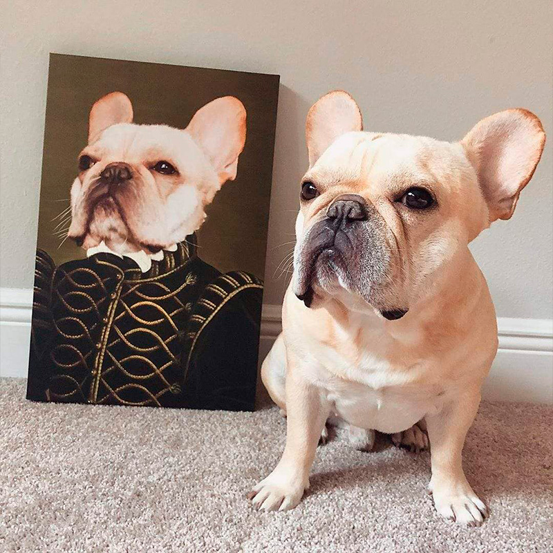Портрет животного в образе короля на холсте