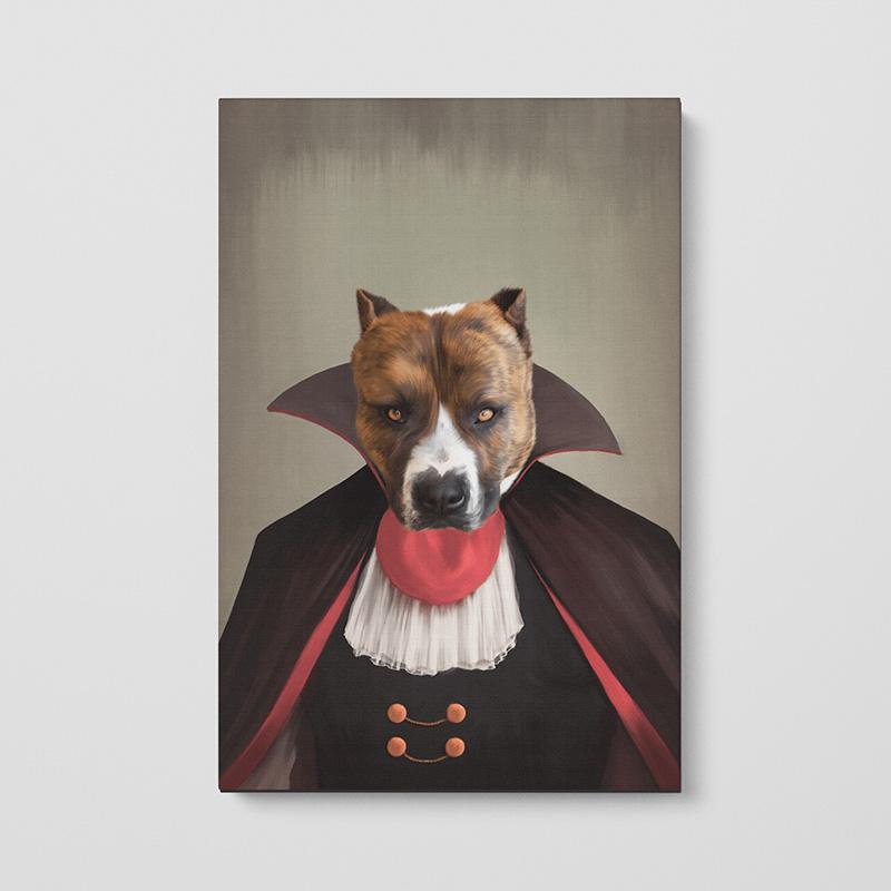 Портрет животного в образе вампира на хосте
