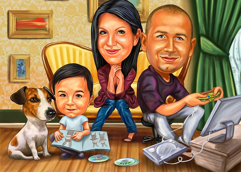 Семейный шарж в домашней обстановке по фото