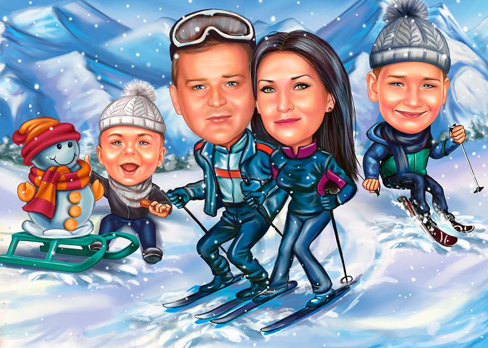 Шарж семьи на отдыхе, катание на лыжах в горах по фото