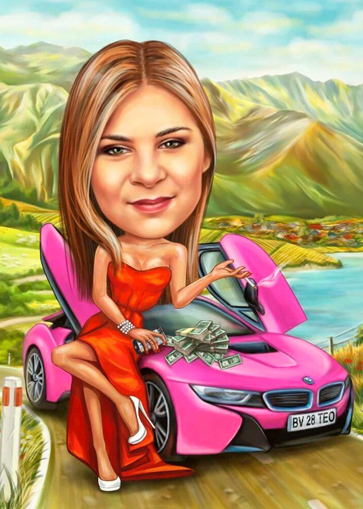Шарж девушки с машиной на фоне горного пейзажа по фото