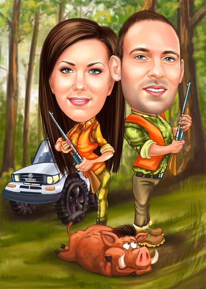 Шарж пары на охоте на кабана, в лесу по фотоо