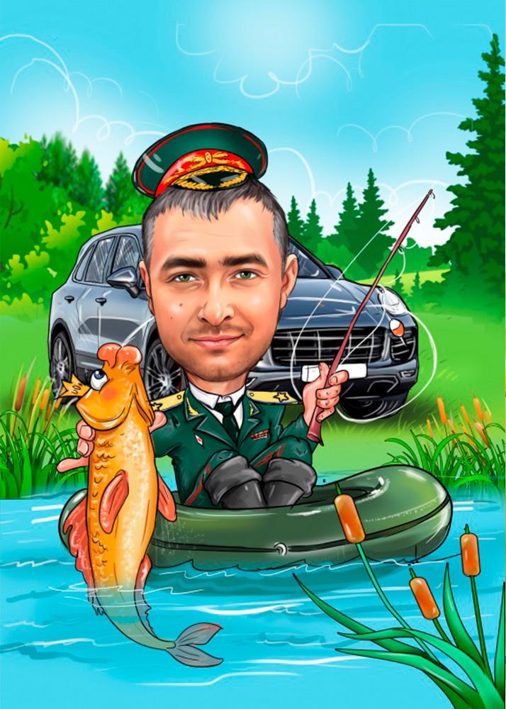 Шарж рыбака в лодке с рыбой, на фоне природы по фото
