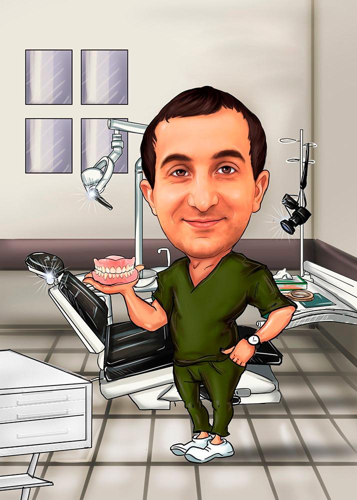 Мужской шарж врача-стоматолога на рабочем месте по фото