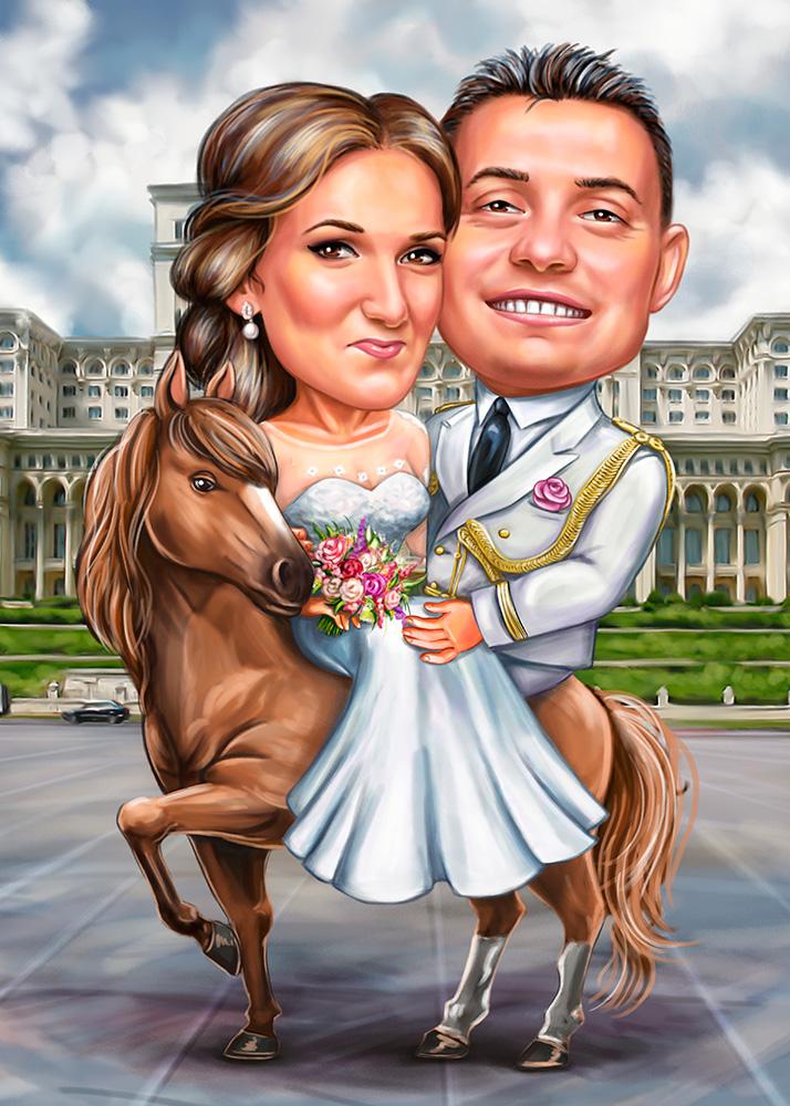 Парный свадебный шарж по фото, пара на лошади