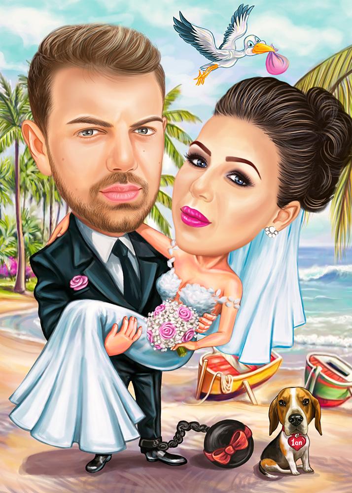 Свадебный парный портрет в стиле шарж, свадьба на островах