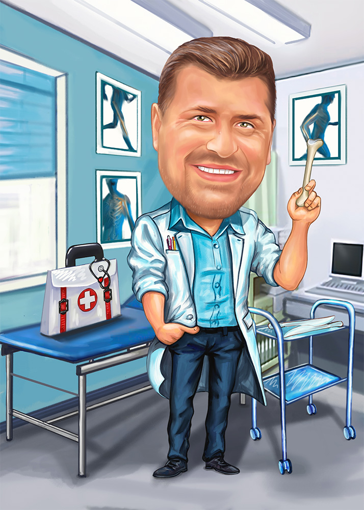 Мужской шарж врача в своем кабинете по фото