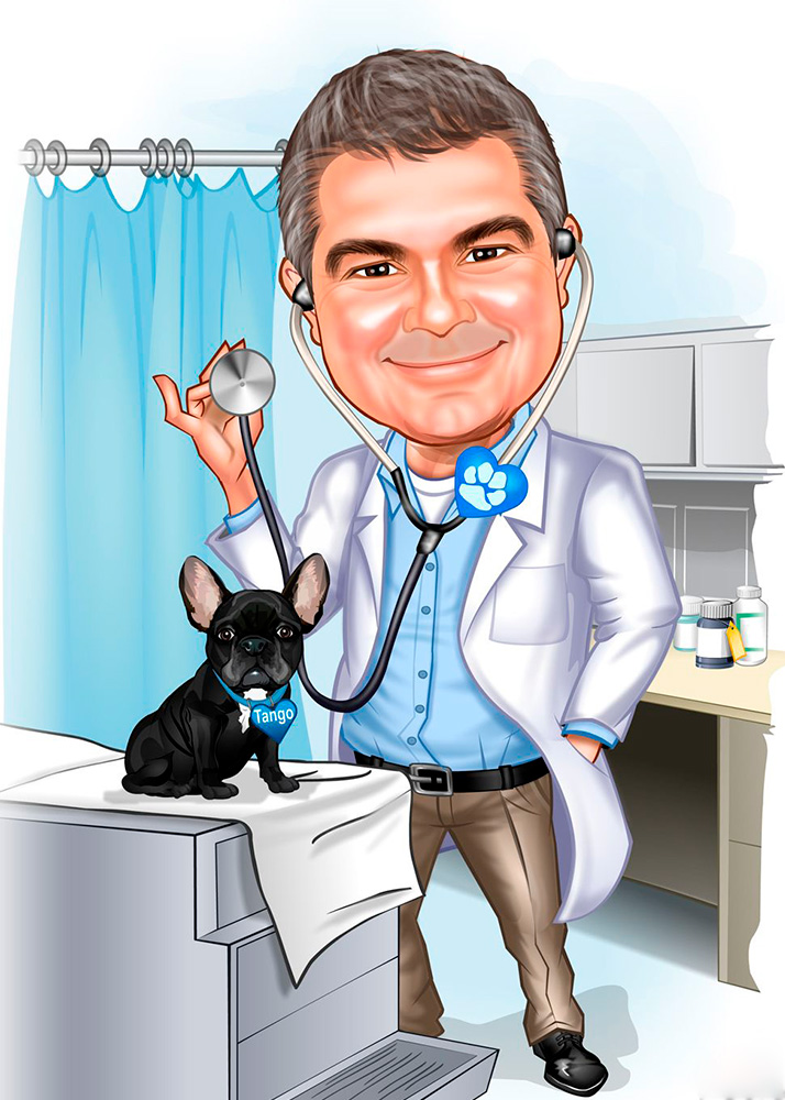 Шарж врача-ветеринара в работе по фото в студии печати Рафаэль