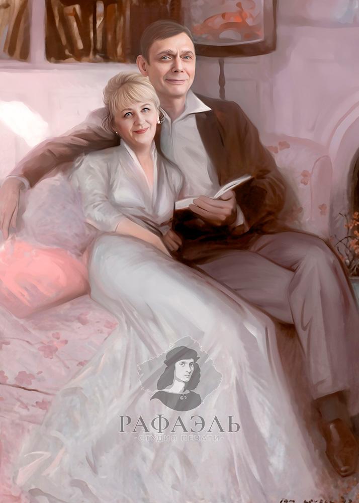 Парный портрет в образе читающих дворян