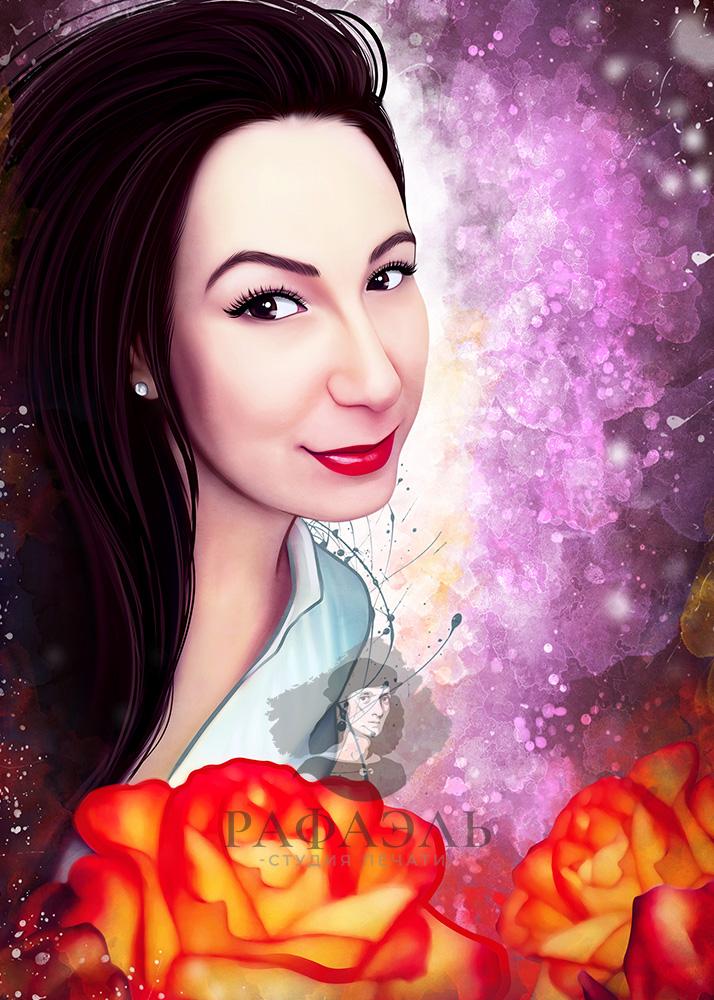 Дрим-арт портрет девушки счерными волосами в космическим фоном и розами