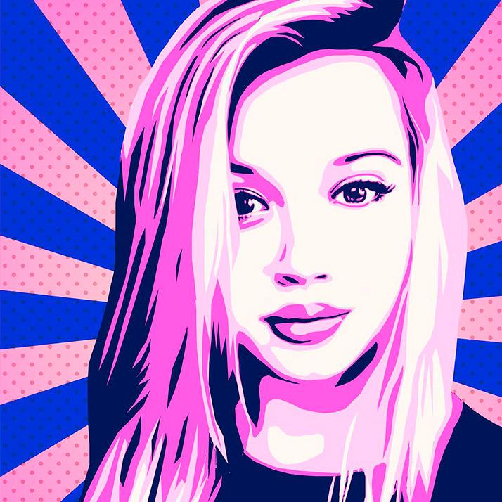 По-арт портрет девушки в сине-розовых тонах